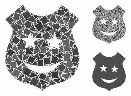 Smile police shield composition of inequal elements in various sizes and color tints, based on smile police shield icon. Vector joggly elements are combined into collage.