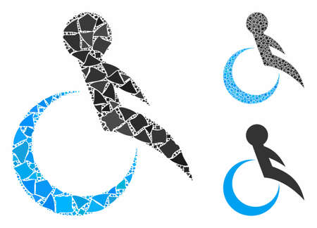 Wheelchair composition of raggy elements in different sizes and color tinges, based on wheelchair icon. Vector rugged dots are composed into composition. Wheelchair icons collage with dotted pattern.