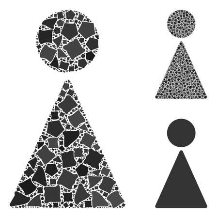 Woman composition of irregular parts in different sizes and color tints, based on woman icon. Vector uneven parts are composed into composition. Woman icons collage with dotted pattern.