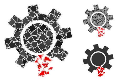 Damaged gear tooth composition of raggy pieces in variable sizes and color hues, based on damaged gear tooth icon. Vector humpy items are composed into composition.