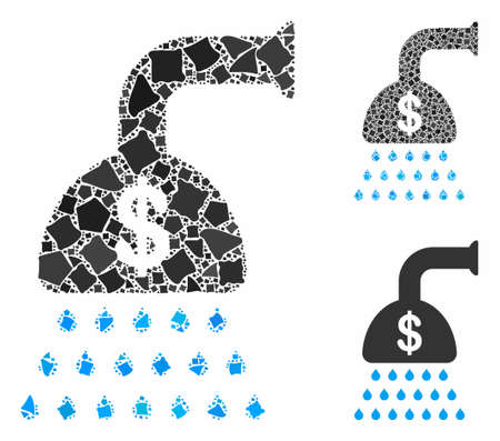 Payment shower mosaic of bumpy elements in various sizes and color tones, based on payment shower icon. Vector rugged items are organized into mosaic. Payment shower icons collage with dotted pattern.