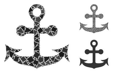 Anchor composition of trembly elements in variable sizes and color hues, based on anchor icon. Vector rough dots are combined into collage. Anchor icons collage with dotted pattern.