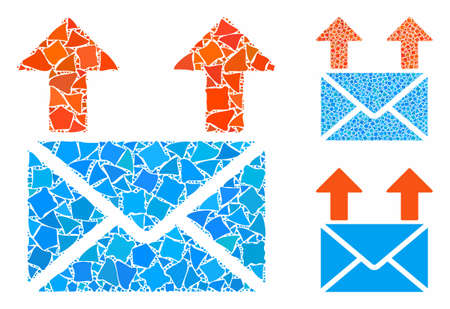 Send mail mosaic of irregular parts in variable sizes and color hues, based on send mail icon. Vector irregular parts are grouped into mosaic. Send mail icons collage with dotted pattern.