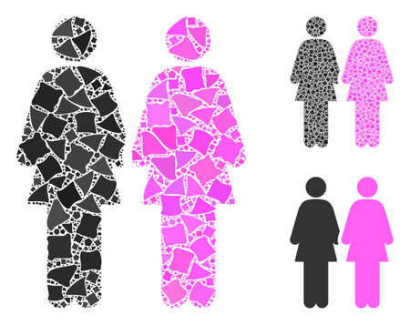 Lesbian couple mosaic of tuberous pieces in different sizes and color tints, based on lesbian couple icon. Vector tremulant pieces are composed into collage.