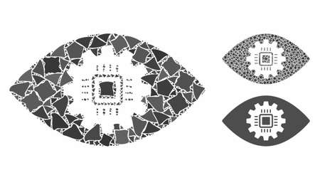 Cyborg eye lens mosaic of tremulant parts in various sizes and shades, based on cyborg eye lens icon. Vector uneven parts are organized into mosaic. Cyborg eye lens icons collage with dotted pattern.