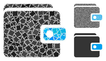 Wallet mosaic of tuberous parts in different sizes and color hues, based on wallet icon. Vector raggy parts are combined into mosaic. Wallet icons collage with dotted pattern. Illustration