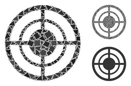 Target composition of ragged elements in variable sizes and shades, based on target icon. Vector tremulant elements are combined into composition. Target icons collage with dotted pattern.