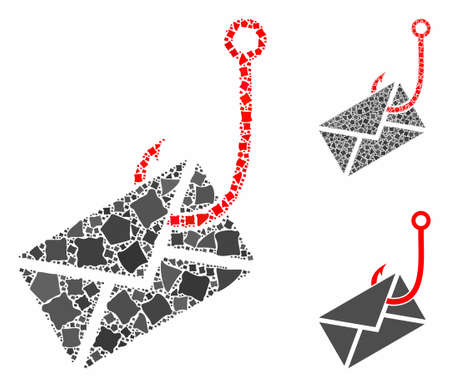 Envelope phishing hook mosaic of uneven items in different sizes and color tinges, based on envelope phishing hook icon. Vector abrupt items are combined into collage.  イラスト・ベクター素材