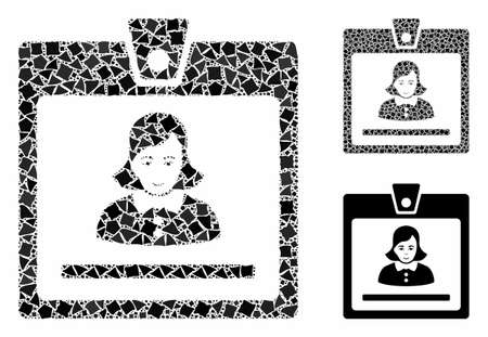 Woman badge composition of tremulant pieces in variable sizes and color tints, based on woman badge icon. Vector uneven pieces are combined into collage. Woman badge icons collage with dotted pattern. Ilustração