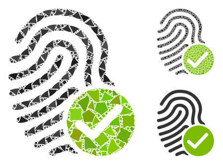 Valid fingerprint composition of unequal items in various sizes and color hues, based on valid fingerprint icon. Vector tuberous items are grouped into collage. Illusztráció