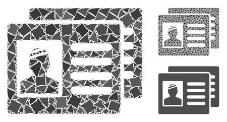 Patient cards mosaic of trembly parts in variable sizes and shades, based on patient cards icon. Vector rugged parts are composed into mosaic. Patient cards icons collage with dotted pattern. Archivio Fotografico - 133240448