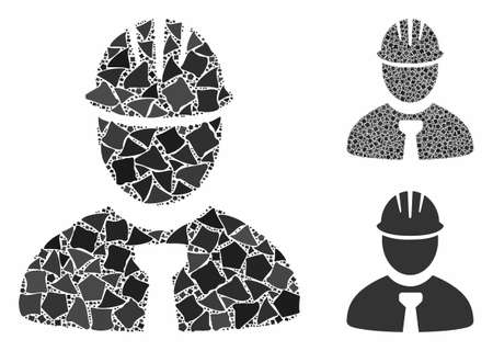 Engineer composition of trembly pieces in variable sizes and color tinges, based on engineer icon. Vector trembly dots are grouped into collage. Engineer icons collage with dotted pattern. Stok Fotoğraf - 133127792