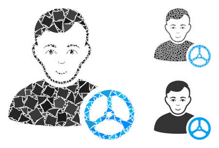 Car driver mosaic of irregular parts in various sizes and shades, based on car driver icon. Vector bumpy dots are grouped into mosaic. Car driver icons collage with dotted pattern.