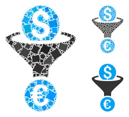 Dollar Euro conversion funnel mosaic of raggy parts in various sizes and shades, based on Dollar Euro conversion funnel icon. Vector raggy items are grouped into collage.