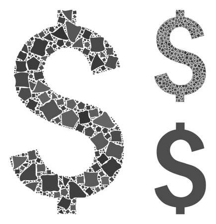 Dollar symbol mosaic of irregular items in different sizes and color tones, based on dollar symbol icon. Vector joggly items are united into mosaic. Dollar symbol icons collage with dotted pattern. Illustration