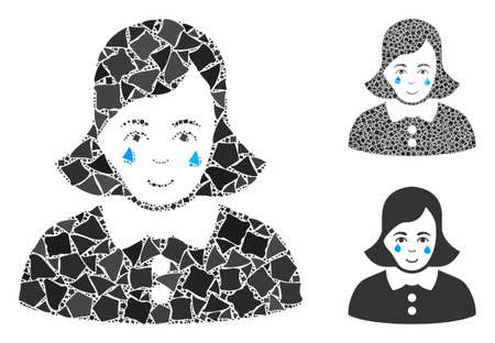 Crying woman composition of bumpy items in different sizes and color tinges, based on crying woman icon. Vector bumpy pieces are grouped into collage. Crying woman icons collage with dotted pattern.