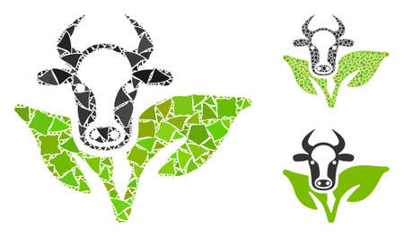 Bull and plant composition of irregular parts in different sizes and color tinges, based on bull and plant icon. Vector raggy parts are united into composition.