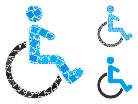 Wheelchair mosaic of rugged items in different sizes and color tinges, based on wheelchair icon. Vector rugged pieces are composed into composition. Wheelchair icons collage with dotted pattern.