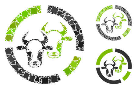 Livestock diagram mosaic of irregular items in various sizes and color tints, based on livestock diagram icon. Vector irregular items are composed into illustration.
