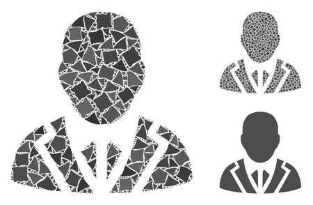 Valet composition of abrupt pieces in various sizes and color hues, based on valet icon. Vector joggly pieces are united into collage. Valet icons collage with dotted pattern.