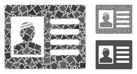 Patient card mosaic of irregular pieces in variable sizes and color tinges, based on patient card icon. Vector irregular dots are grouped into mosaic. Patient card icons collage with dotted pattern.