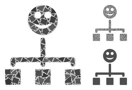 Happy hierarchy composition of joggly parts in various sizes and shades, based on happy hierarchy icon. Vector tremulant parts are composed into composition.