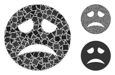 Sadness smiley mosaic of inequal items in variable sizes and color tones, based on sadness smiley icon. Vector unequal items are organized into mosaic.