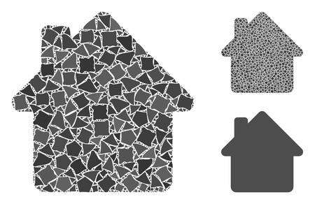 House mosaic of irregular pieces in variable sizes and color tones, based on house icon. Vector irregular pieces are organized into illustration. House icons collage with dotted pattern.