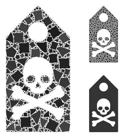 Death mark composition of trembly items in variable sizes and shades, based on death mark icon. Vector irregular items are combined into collage. Death mark icons collage with dotted pattern. Ilustração