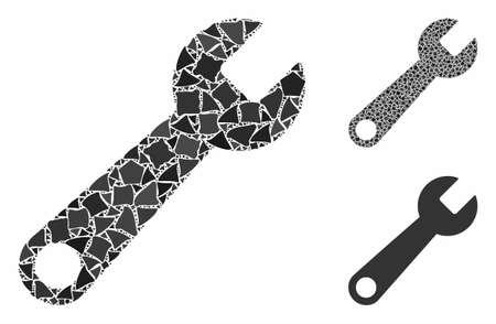 Wrench composition of raggy pieces in various sizes and shades, based on wrench icon. Vector raggy elements are grouped into composition. Wrench icons collage with dotted pattern.