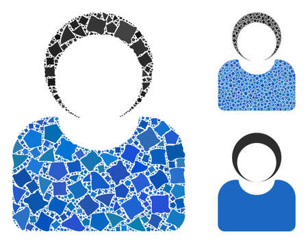 Customer composition of inequal parts in different sizes and color hues, based on customer icon. Vector tuberous dots are united into collage. Customer icons collage with dotted pattern. Archivio Fotografico - 133128014