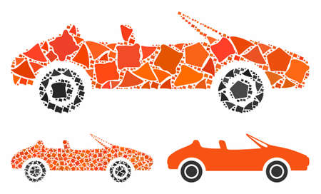 Cabriolet mosaic of trembly items in various sizes and color tinges, based on cabriolet icon. Vector rough items are grouped into collage. Cabriolet icons collage with dotted pattern. Vettoriali