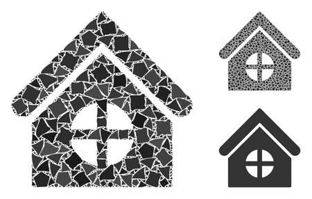 House with round window composition of inequal items in various sizes and color tinges, based on house with round window icon. Vector uneven dots are combined into collage.