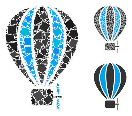 Aerostat balloon mosaic of unequal items in various sizes and color tints, based on aerostat balloon icon. Vector rough items are composed into collage. Illusztráció