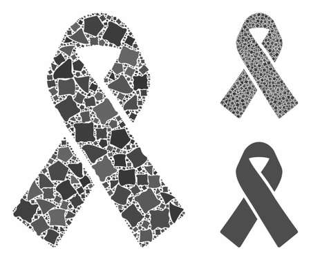 Mourning ribbon mosaic of rugged pieces in variable sizes and color hues, based on mourning ribbon icon. Vector tremulant pieces are organized into collage. Vetores