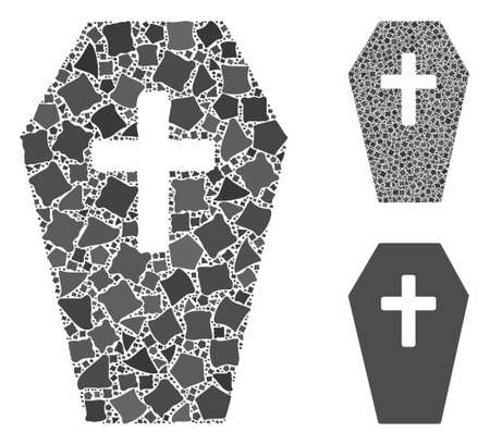 Coffin composition of humpy items in various sizes and color tinges, based on coffin icon. Vector tremulant items are organized into collage. Coffin icons collage with dotted pattern.