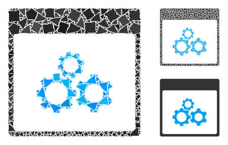 Mechanics gears calendar page composition of humpy pieces in various sizes and color tones, based on mechanics gears calendar page icon. Vector joggly parts are united into composition. Illusztráció