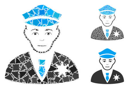 Policeman mosaic of tuberous parts in different sizes and color tones, based on policeman icon. Vector raggy parts are grouped into mosaic. Policeman icons collage with dotted pattern. 벡터 (일러스트)