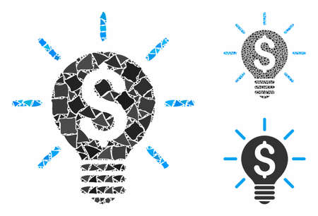 Business idea bulb mosaic of raggy pieces in different sizes and shades, based on business idea bulb icon. Vector rugged parts are organized into mosaic. Illustration
