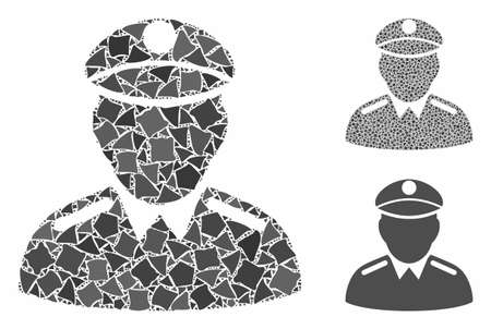 Colonel composition of bumpy items in various sizes and color tones, based on colonel icon. Vector tuberous items are grouped into collage. Colonel icons collage with dotted pattern. Illustration