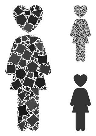 Lover woman mosaic of inequal pieces in various sizes and color tints, based on lover woman icon. Vector inequal parts are composed into collage. Lover woman icons collage with dotted pattern.