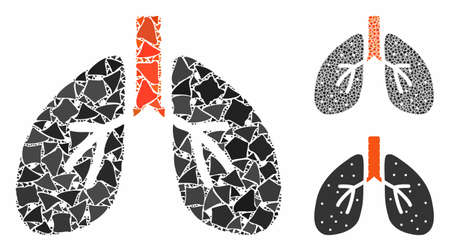 Lungs composition of ragged elements in different sizes and shades, based on lungs icon. Vector ragged dots are combined into collage. Lungs icons collage with dotted pattern.