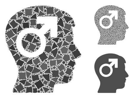 Male symbol head mosaic of rugged elements in variable sizes and color tinges, based on male symbol head icon. Vector ragged elements are grouped into mosaic. Illustration