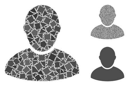 Customer mosaic of rough items in various sizes and shades, based on customer icon. Vector rough pieces are grouped into mosaic. Customer icons collage with dotted pattern.