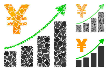 Yen growth graph mosaic of irregular parts in different sizes and color tints, based on yen growth graph icon. Vector irregular dots are organized into collage. Stock fotó - 133187757