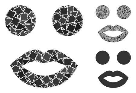 Lady smiley mosaic of ragged pieces in different sizes and color tones, based on lady smiley icon. Vector ragged pieces are united into collage. Lady smiley icons collage with dotted pattern. Stock Illustratie