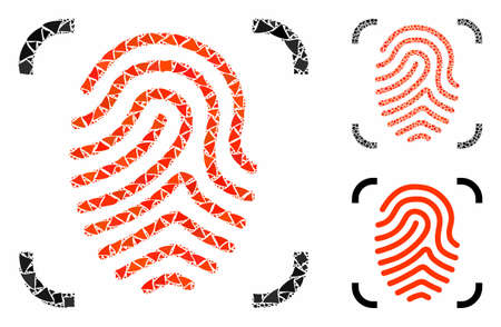 Fingerprint scan mosaic of unequal pieces in different sizes and shades, based on fingerprint scan icon. Vector abrupt elements are grouped into mosaic. Illusztráció