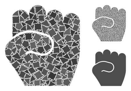 Fist composition of unequal elements in various sizes and color tinges, based on fist icon. Vector inequal elements are grouped into composition. Fist icons collage with dotted pattern.