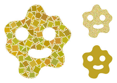 Ameba mosaic of joggly pieces in different sizes and color tinges, based on ameba icon. Vector humpy dots are composed into mosaic. Ameba icons collage with dotted pattern.