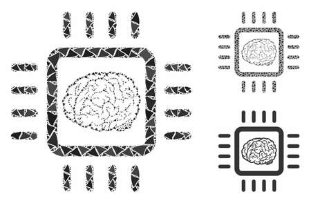 Neural chip composition of trembly parts in variable sizes and color tinges, based on neural chip icon. Vector ragged parts are grouped into collage. Neural chip icons collage with dotted pattern. Illustration